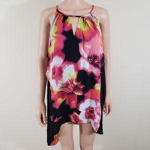 Worthington Pink Floral  Handkerchief Top Size 1X
